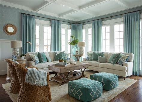 good home design shows turquoise coastal living room design