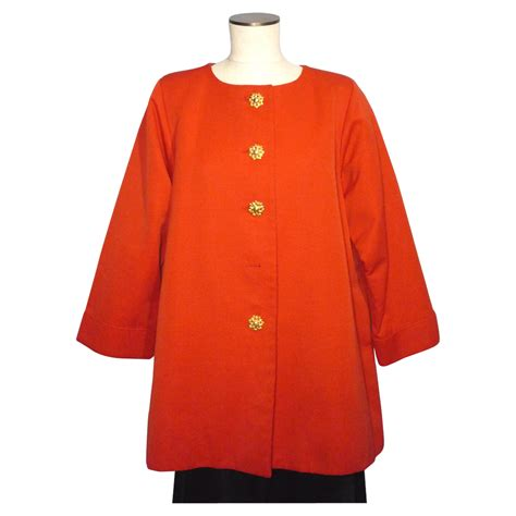 red swing coat vintage 1980s yves saint laurent rive gauche tomato red
