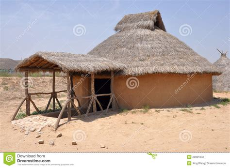 house reconstruction reconstruction of neolithic house stock photography
