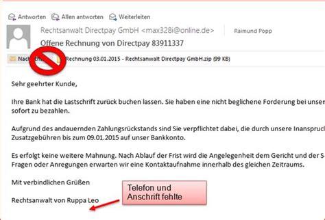 Freiberufler Rechnung Email Schadhafte Email Rechnung Rechtsanwalt Direktpay Programmierer