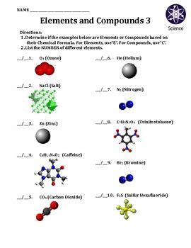 Atoms Elements Molecules And Compounds Worksheet by Worksheet Elements And Compounds 3 By Travis Terry Tpt