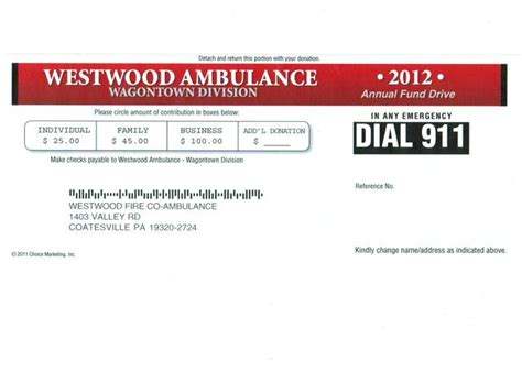 Ambulance Service Request Letter Fund Drive Warning Westwood Company