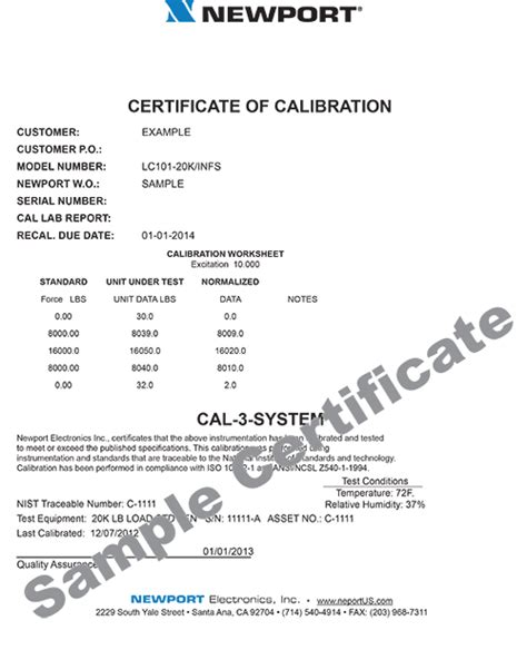 pressure calibration certificate template factory calibrations for sensors wire instruments