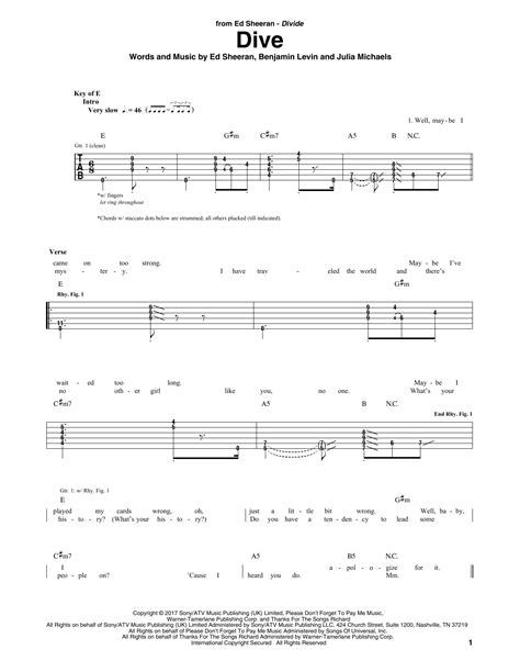 ed sheeran easy chords dive by ed sheeran guitar rhythm tab guitar instructor