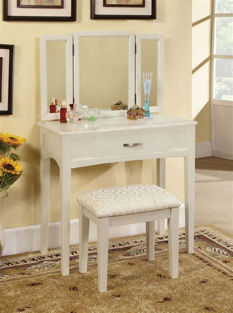 Narrow Makeup Vanity Table Narrow White Makeup Vanity Table With Single Drawer Underneath Plus Cushioned Stool Decofurnish