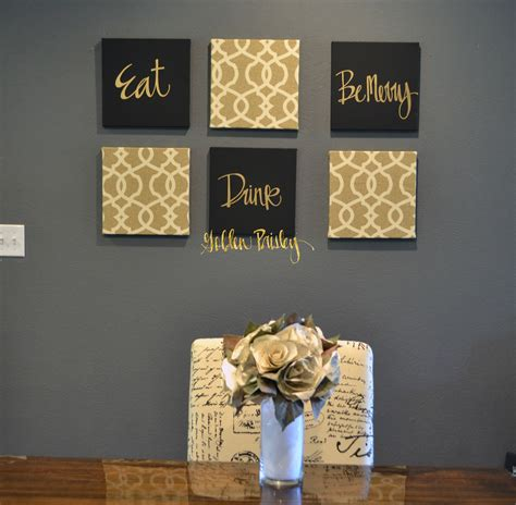 wall decor black and gold eat drink be merry chic wall set