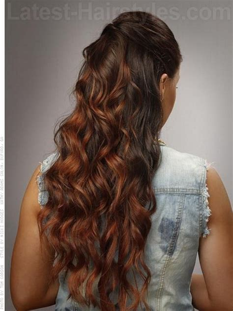 Pulled back curls long curly wedding hair styles nail and hair care