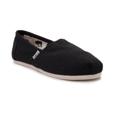 slip on shoes womens toms classic slip on casual shoe black 350500