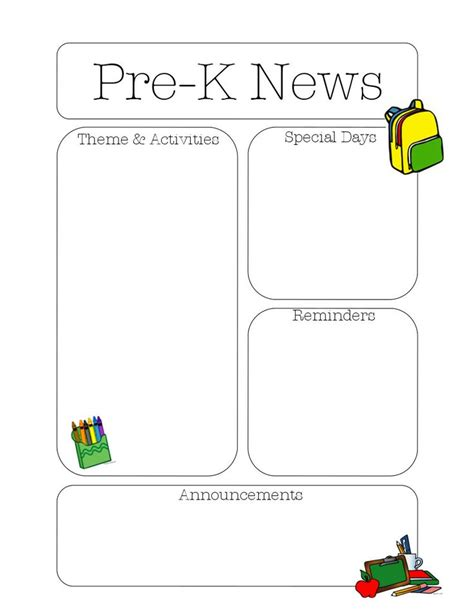 pre k newsletter template the crafty