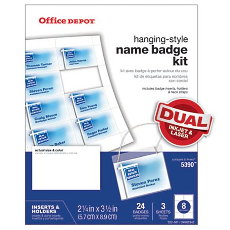printable name tags office depot office depot brand name badge kit pack of 24 by office