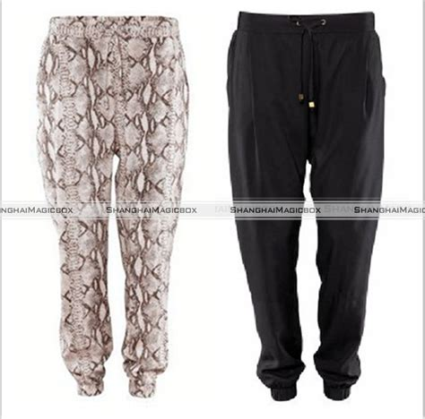 vintage pattern trousers women fashion vintage snake skin pattern black harem loose