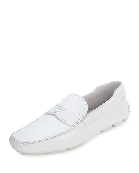 white prada loafers prada rubber sole leather loafers in white lyst