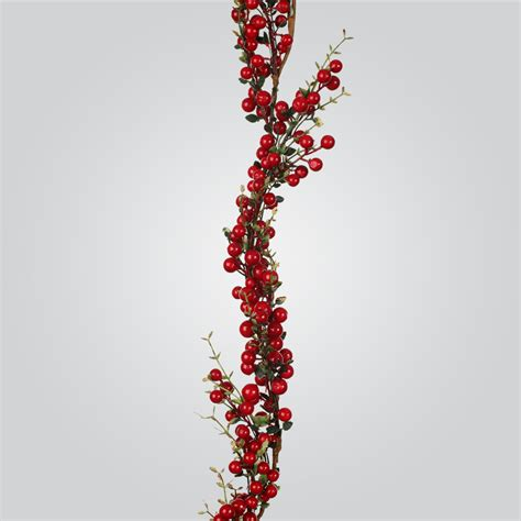 christmas decorations 6ft red berries twig garland