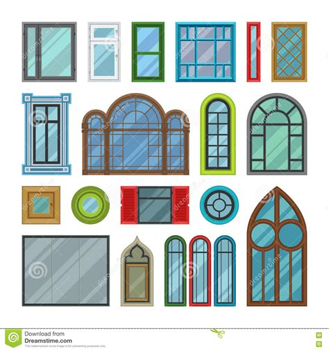 Different Windows Designs Different House Windows Vector Elements Stock Vector