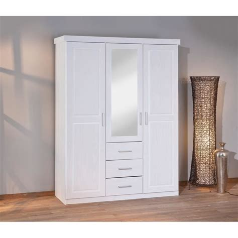 Armoire Blanche Chambre by Armoire Blanche Adulte 3 Portes Dont 1 Miroir Et 3 Tiroirs