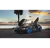 BMW I8 Blue HRE Wheels Wallpaper  HD Car Wallpapers