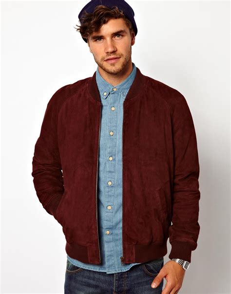 Jaket Bomber Polos Maroon Bomber Jaket asos asos suede bomber jacket in for burgundy lyst
