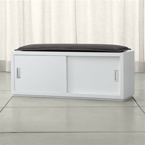 shoe storage bench with sliding doors aspect 47 5 quot sliding door bench with cushion crate and