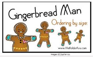 Gingerbread man game ordering by size file folder fun