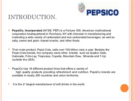 Introduction Of Pepsi Slideshare | pepsico ppt