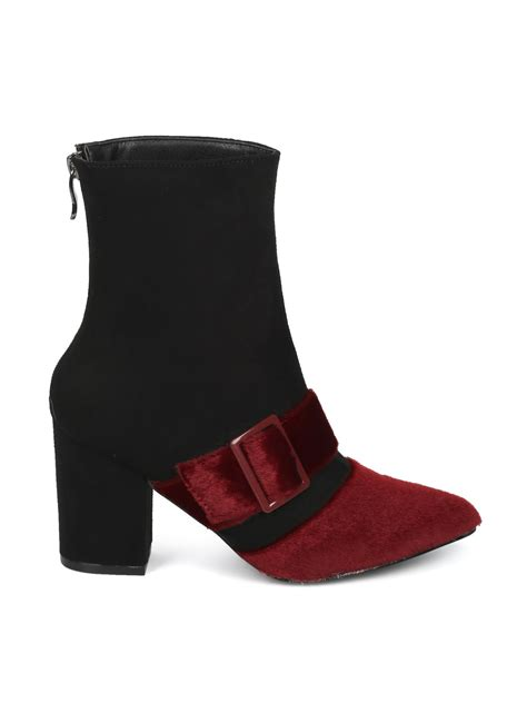 Buckled Heel Ankle Boots shoes mackinj he97 mixed fabric pointy toe buckled