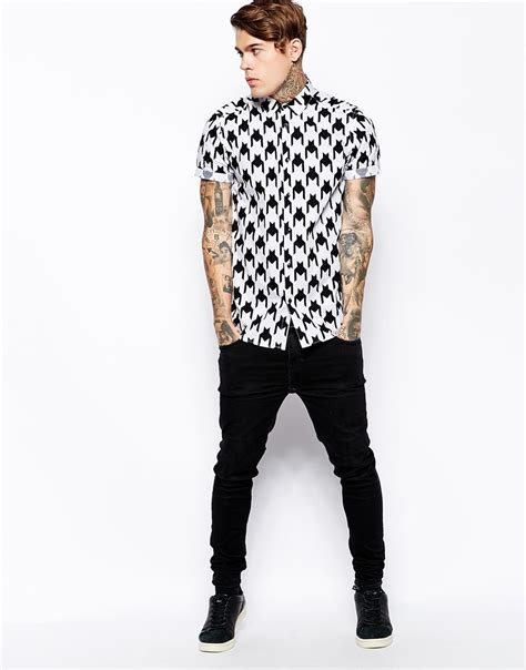 houndstooth pattern shirt mens smart shirt in short sleeve with houndstooth print cotton