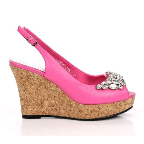 wedge heel slingbacks rhinestone open toes pink wedding