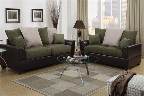 green sofa set poundex harlow f7568 brown and green microfiber sofa and