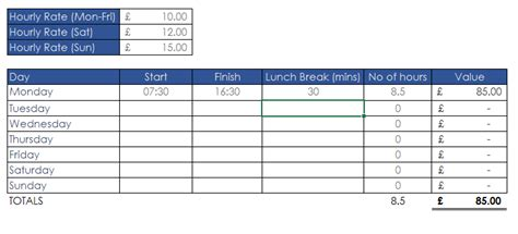 New Improved Excel 2013 Timesheet Tool Excel Timesheet Template With Lunch