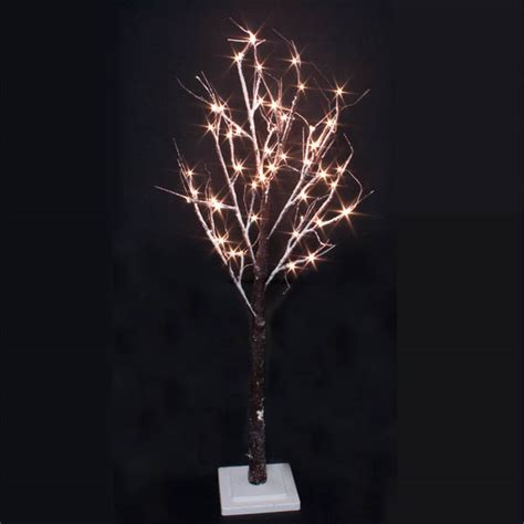 Pre Lit Brown Snowy Paper Twig Tree 125cm With 48 Warm Twigs With Lights