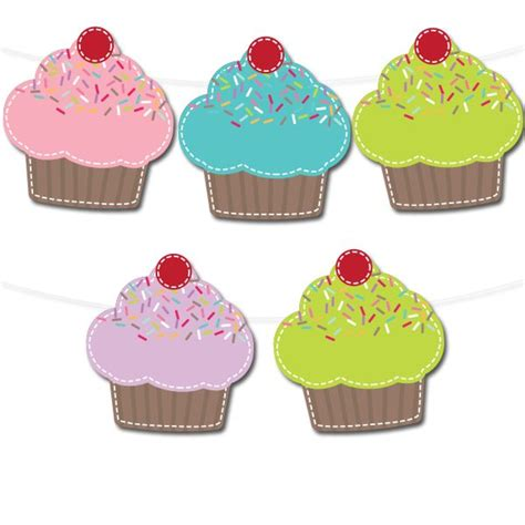 free printable cupcake banner printable party decor