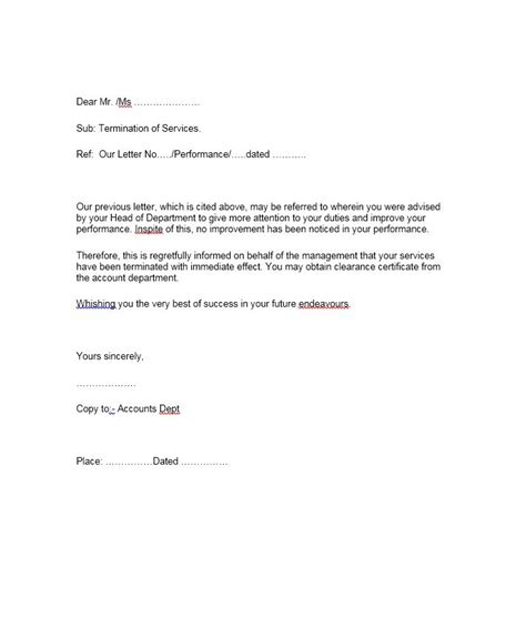 35 Perfect Termination Letter Sles Lease Employee Contract Termination Letter Template