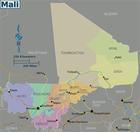 map of mali file mali regions map png wikimedia commons