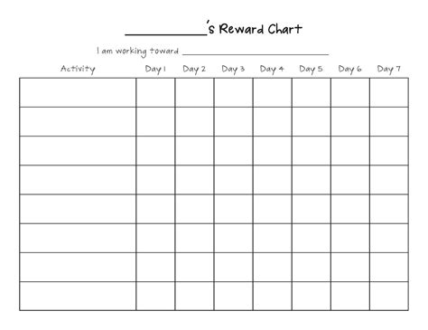 table chart template printable reward chart template activity shelter