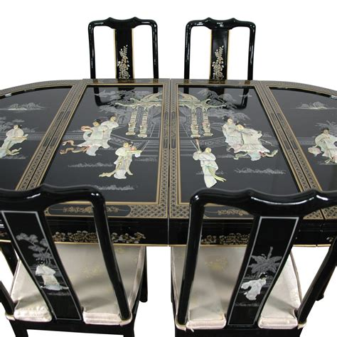 black lacquer dining room set lacquer dining room set black mother of pearl