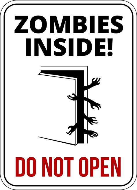 Dinosaur Wall Stickers Uk zombies inside funny warning sign enter at own risk