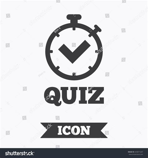 graphic design elements quiz quiz timer sign icon questions answers 스톡 벡터 443871247