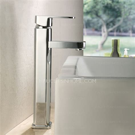 High End Vessel Sinks by High End Top Mounted Square Vessel Bathroom Sink Faucet