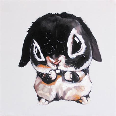 Paint By Number Wall Murals canvas art cute rabbit oil painting black multi color