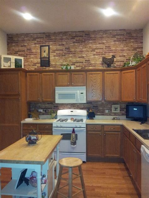 brick in kitchen faux brick wallpaper kitchen kitchen pinterest the o jays gray and gray cabinets