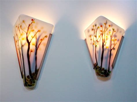 Tree Branch Home Decor by Trees Fused Glass Wall Sconce Artisan Crafted Lighting