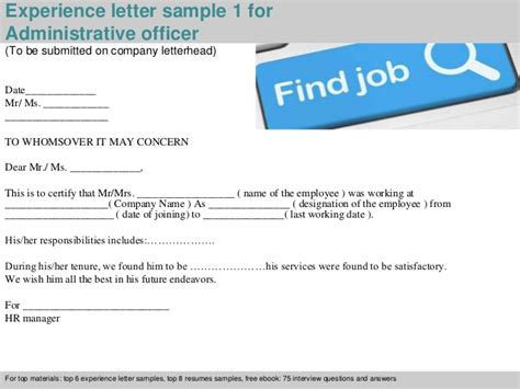 Work Experience Letter For Administrative Officer Administrative Officer Experience Letter