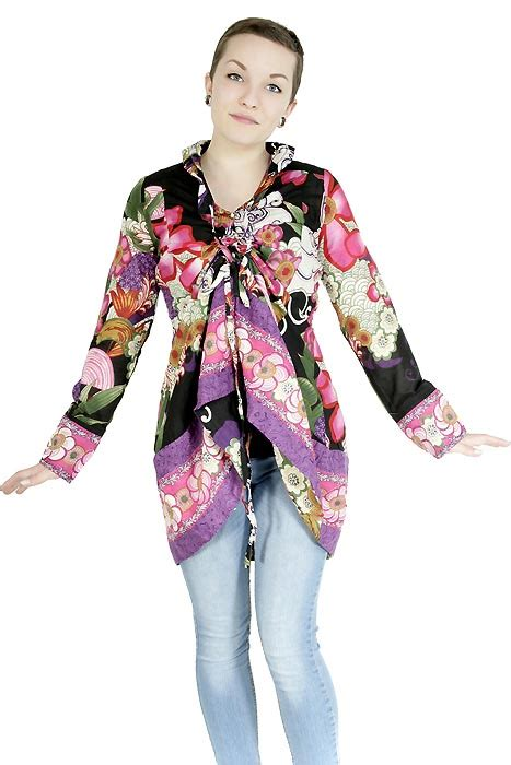 Flower Tunik flower power blumen tunika bunt 70er retro tunika