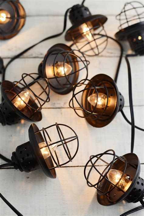 metal string lights nautical cage string lights black 10ct