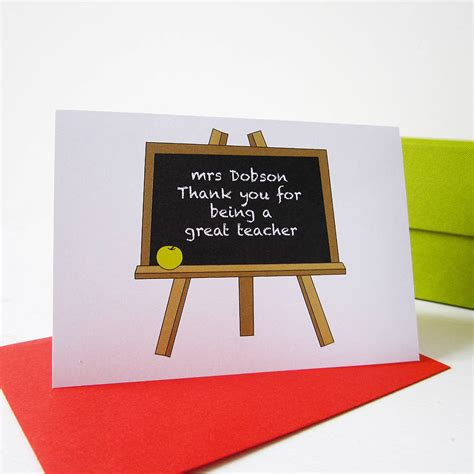 for teachers personalised thank you card by mrs l cards