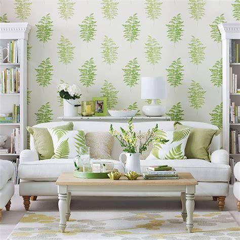 living room  green fern design wallpaper living room