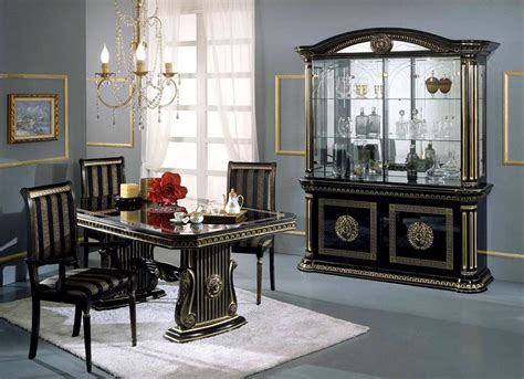 italian dining room set rosella black and gold italian classic dining set