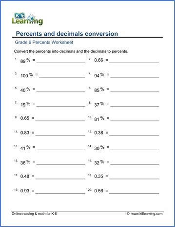 grade 6 math worksheet percents and decimals conversion