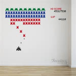 Space Invaders Wall Stickers Giant Vinyl Wall Decal Retro Galaga Like Arcade Game With