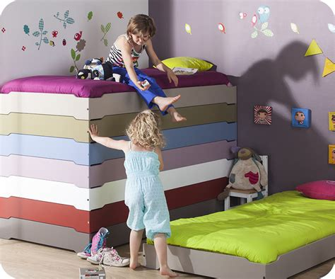 lit enfant empilable taupe 90x190 cm avec sommier vente